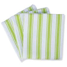 Mahogany Basket Weave Kitchen Towels With Color Stripes Lime Green Set Of 3