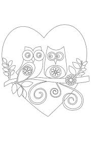 Valentines Day Printable Coloring Cards Owls Or Embroidery Pattern