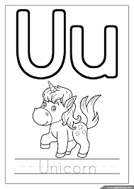 Alphabet Coloring Page Missive Of The U Is For Unicorn