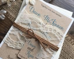 Rustic Wedding Invitation Vintage Elegant Invitations Lace