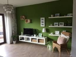 wohnzimmer in farbe die grüne wand bietet einen tollen