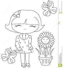 Royalty Free Illustration Download Girl With Butterflies And A Flower Pot Coloring