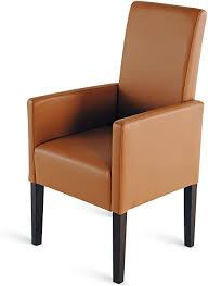 sam esszimmer armlehnstuhl nicola stuhl in cappuccino mit kolonialfarbigen beinen angenehme polsterung dank samolux kunstleder pflegeleicht