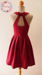 midi dark red prom dress maroon blood red long open back cut