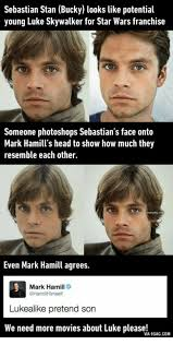 9gag Head And Luke Skywalker Sebastian Stan Bucky Looks Like Potential