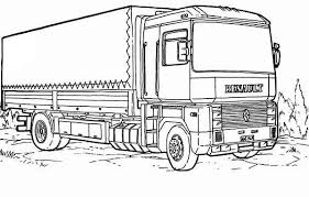Print Renault Semi Truck Coloring Page In Full Size