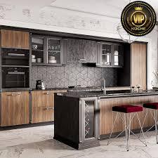 astory moderne landhausküche premiumklasse mit insel und theke massivholz braun anthrazit