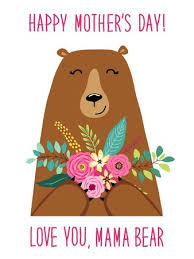 Cute Cartoon Mama Bear With Flowers Bouquet Mothers Day Card For Your Decoration