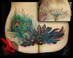 Lower Back Tattoo Cover Up Designs Tattoos Peacock Feather Oak Leaf