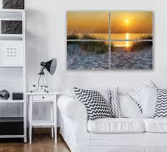 sonnenuntergang am strand 4 teilig glasbild
