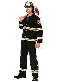 100 Fire Truck Halloween Costume Black Uniform Fighter For Men