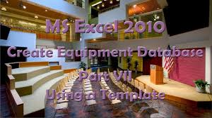 Excel Ceiling Function Vba by Ms Excel 2010 Create Equipment Data Base Part Vii Using A