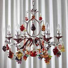 6 light murano glass friut chandelier with painted frame