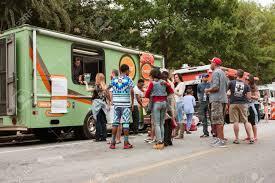 100 Food Trucks Atlanta GA USA October 24 2015 Customers Stand In Line