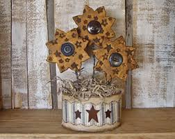 Country Primitive Grubby Polymer Clay Vintage Button Sunflowers With Rustic Star Texture Arrangement In Oval Decoupage