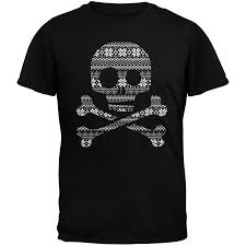 Skull Crossbones Silhouette Ugly Christmas Sweater Black Adult T Shirt