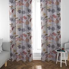 schöner leben vorhang divali blumen blüten blätter vogel weiß grau gelb rot 245cm oder wunschlänge