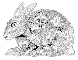 Rabbit Raccoon Duck Tiger Chipmonk Abstract Doodle Zentangle Coloring Pages