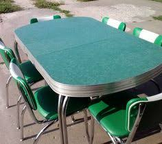 1950s Vintage Retro Green Chrome Dinette Table W 6 Chairs 2 Removable Leafs