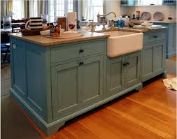 Rustic Blue Kitchen Island With Farmhouse Sink