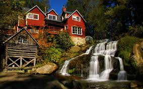 100 Water Fall House Red Next To The Fall Rock World Wallpapers Hd
