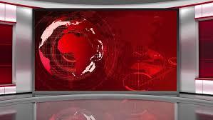 News Broadcast TV Studio Green Screen Background