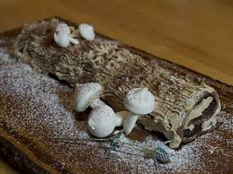 Recipe Bonnie Sterns Yule Log With Meringue Mushrooms