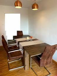stuhl sitzgruppe esszimmer design industrial wildleder