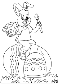 Click To See Printable Version Of Easter Bunny Painting Eggs Coloring Page