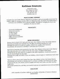 Child Care Director Resume JWBZ 1 Day Center Templates Try Them Now