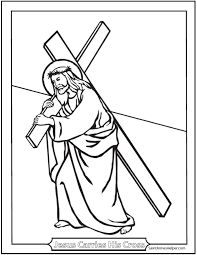 Jesus Carries His Cross Coloring Printable Lent And Fourth Sorrowful Mystery