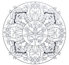 Click To See Printable Version Of Mandala With Butterflies And Strawberry Coloring Page