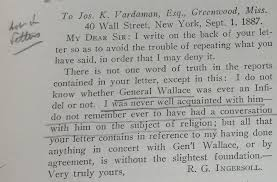 Ingersolls Letter To Joseph Vardaman As Reproduced In An 1922 Issue Of The Truth Seeker