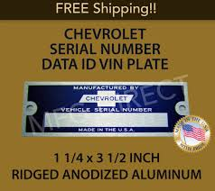 100 Chevy Truck Parts Catalog Free NEW BLANK CHEVROLET SERIAL NUMBER TAG DATA PLATE CHEVY ID VIN