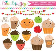 ON SALE Happy Fall Clipart Pumpkin Coffee Acorns Cupcakes