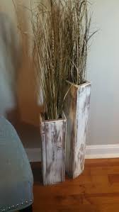 Set Of Two Rustic Wood Floor Vases 24 And 18 Wedding Decor Vase Home Shabby Chic