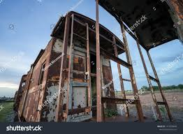 100 Cargo Container Cabins Rusty Train Cabin Abandoned Stock Photo