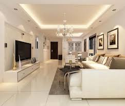 elegantes wohnzimmer in weiß gestalten und angehängte decke