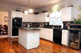 White Kitchen Black Appliances Image Of Antique Cabinets With Off