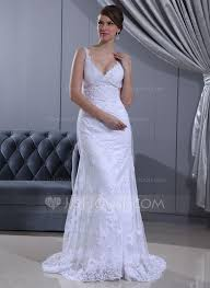 Sheath Column V Neck Sweep Train Satin Lace Wedding Dress With Ruffle Beading