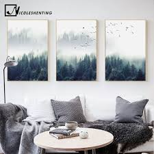 nordic decoration forest lanscape wall canvas poster and