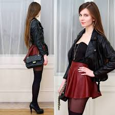 Pair Your Leather Stuff With Skater Skirt
