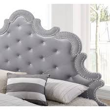 White Velvet King Headboard by Meridian Furniture Sophie K Sophie Grey Velvet King Bed W Silver