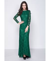 gorgeous dark green long sleeved full lace mermaid evening dresses