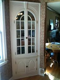 Tall Corner Linen Cabinet Glass Cabinets Dining Room Functional Pertaining To