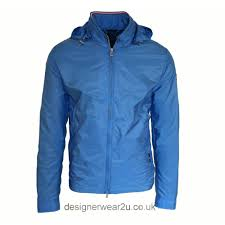 paul u0026 shark blue nylon jacket with concealed hood jackets from
