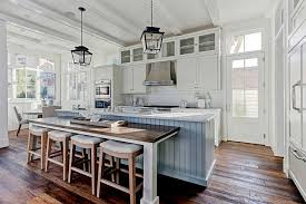 Steel Blue Shiplap Center Island With Drop Down Dining Table And Saddle Seat Stools