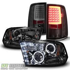 100 Ram Light Truck Parts Smoke 20092018 Dodge 1500 Halo Projector HeadlightsLED Tail
