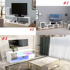 Details About New Modern TV Unit Bule Led Lights Cabinet Stand High Gloss White Wooden3Style