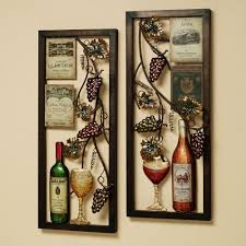 Marvelous Wall Decor Of Wine And Glass Also Grape To Decorate KItchen